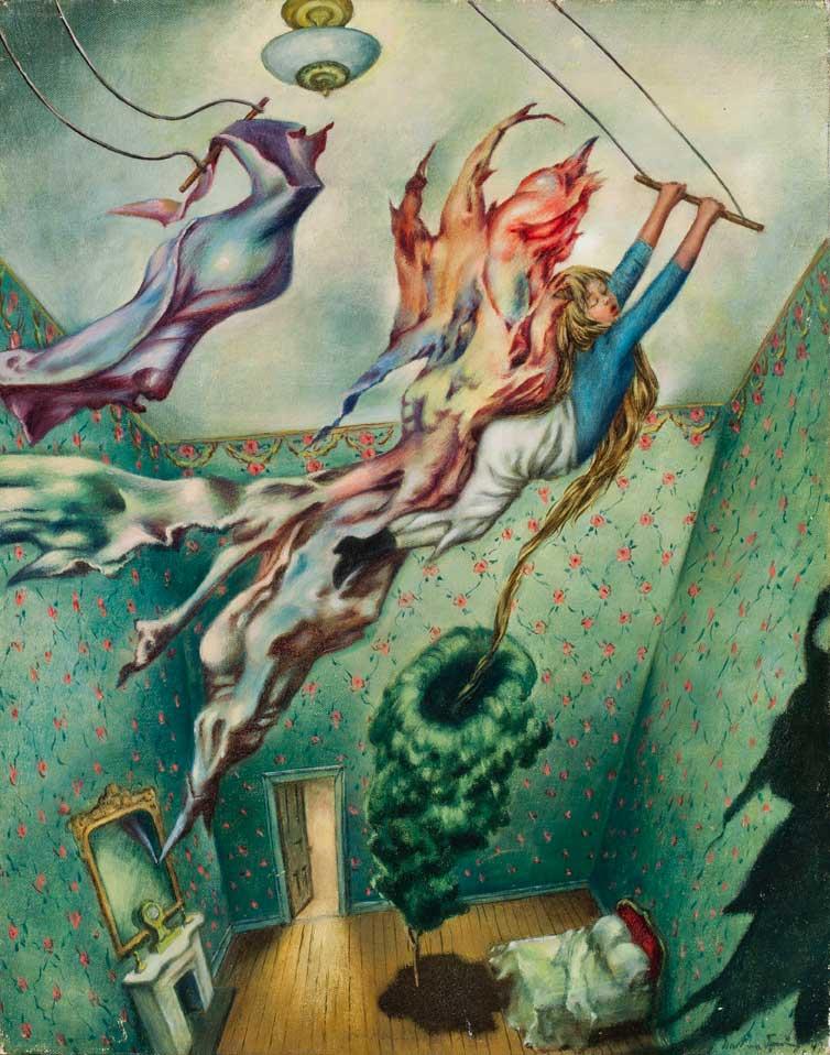 Avatar - Cuadro Surrealista pintado por Dorothea Tanning en 1947 - Óleo sobre Lienzo 36 x 28 cm