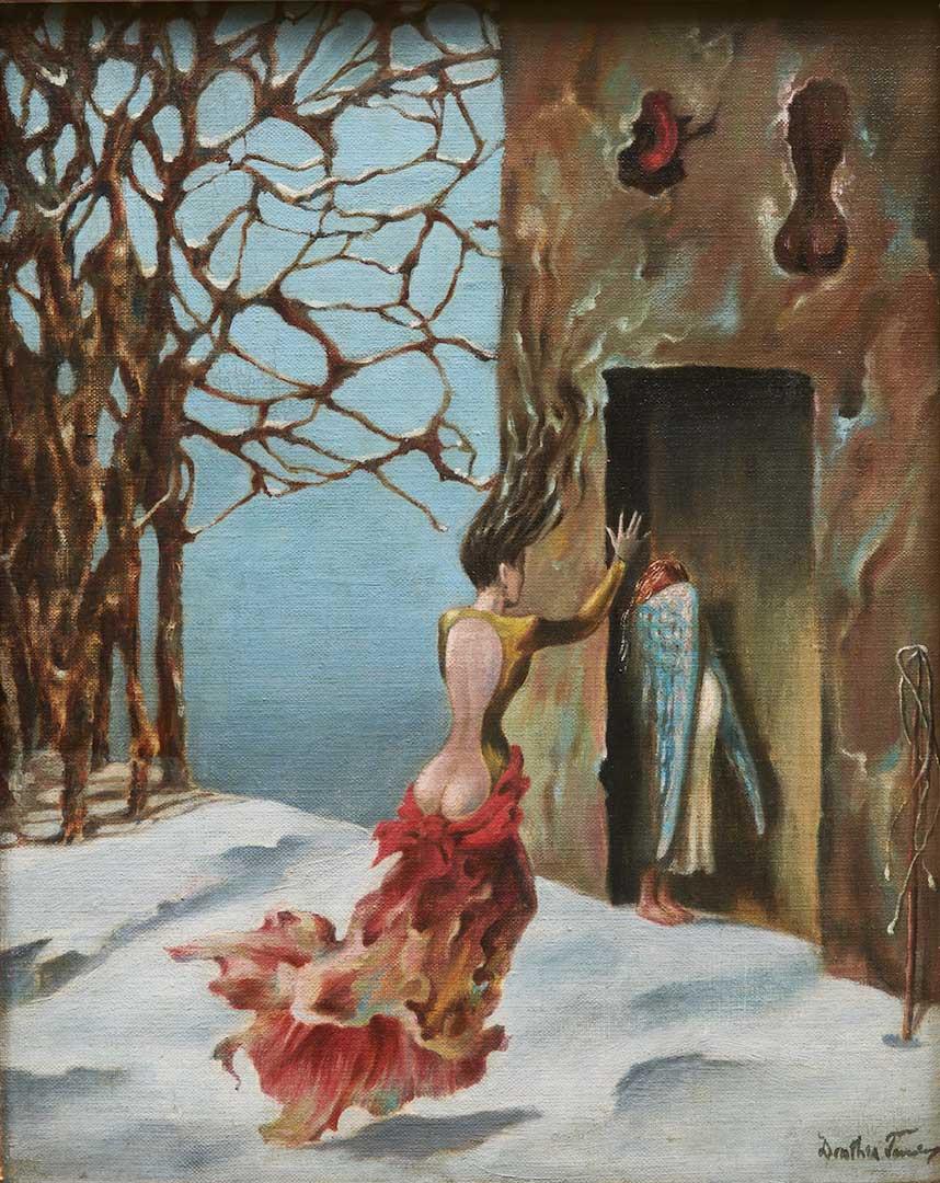 Moeurs Espagnoles - Costumbres Españolas - Cuadro Surrealista pintado por Dorothea Tanning en 1943 - Óleo sobre Lienzo 36 x 28 cm