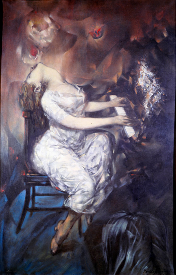 Dimanche après-midi - domingo por la tarde - Cuadro Surrealista pintado por Dorothea Tanning en 1953 - Óleo sobre Lienzo 254 x 165 cm