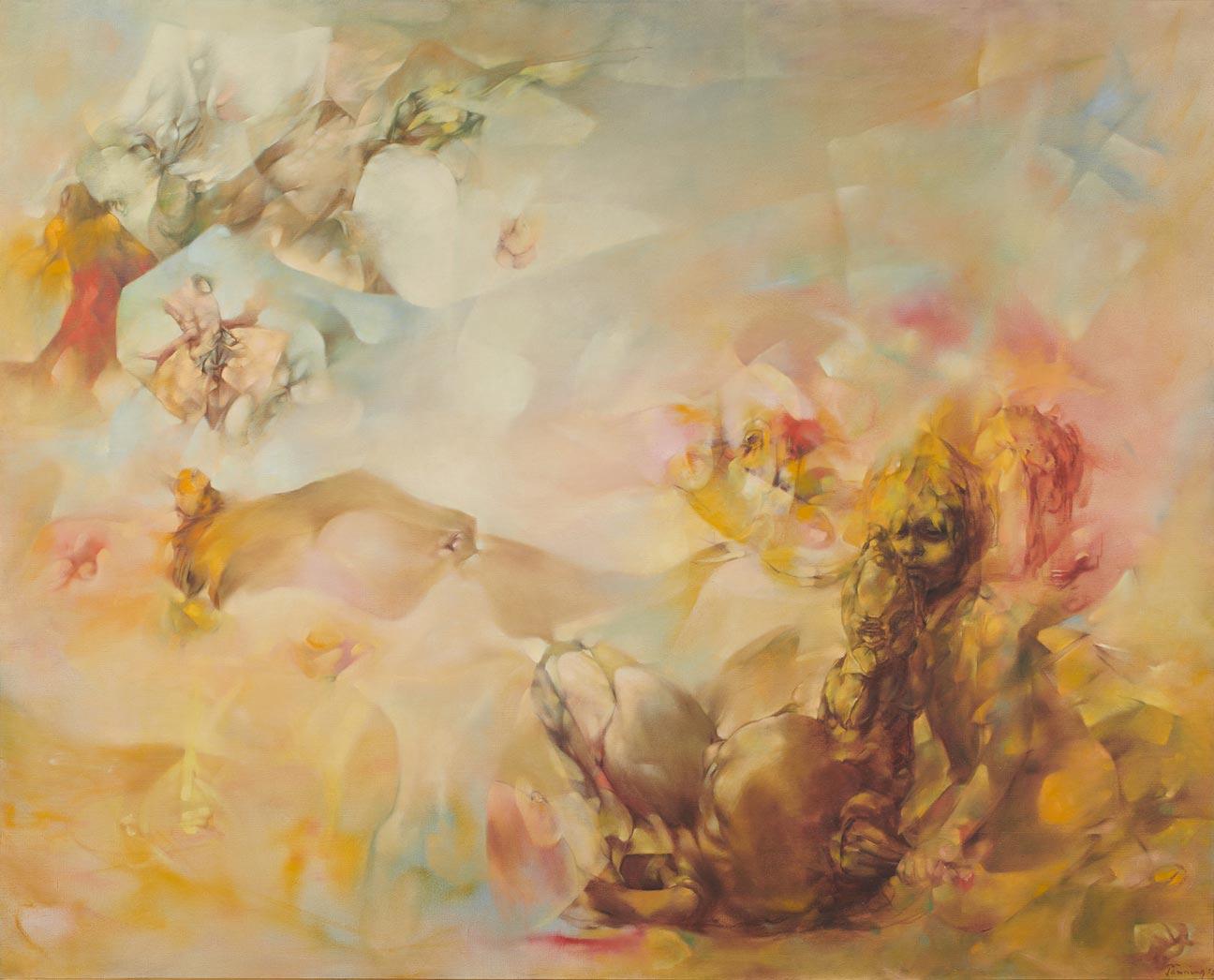 Le Mal Oublié - El mal olvidado - Cuadro Surrealista pintado por Dorothea Tanning en 1955 - Óleo sobre Lienzo 132 x 155 cm