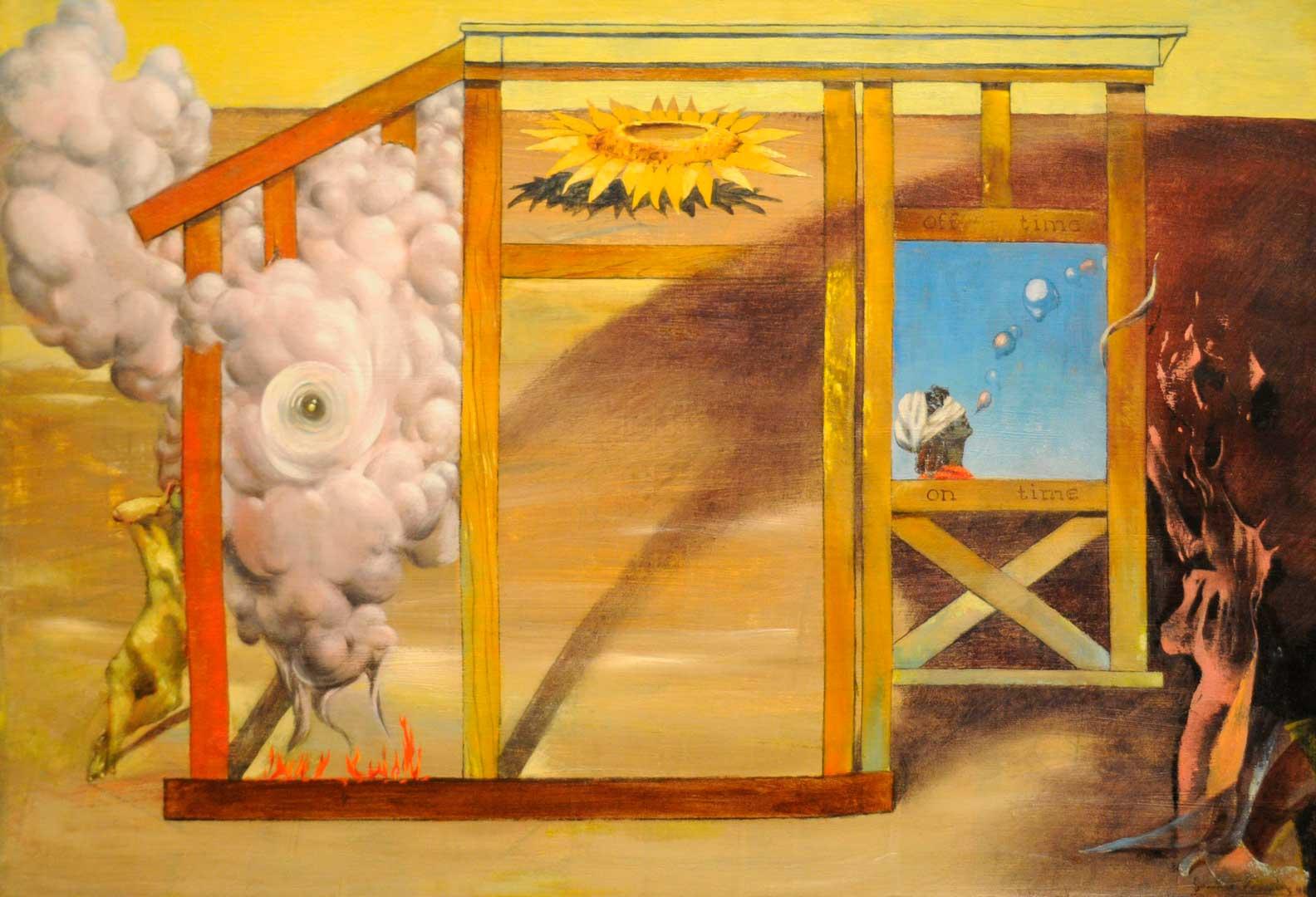 On Time Off Time - En tiempo sin tiempo - Cuadro Surrealista pintado por Dorothea Tanning en 1948 - Óleo sobre Lienzo 27 x 41 cm