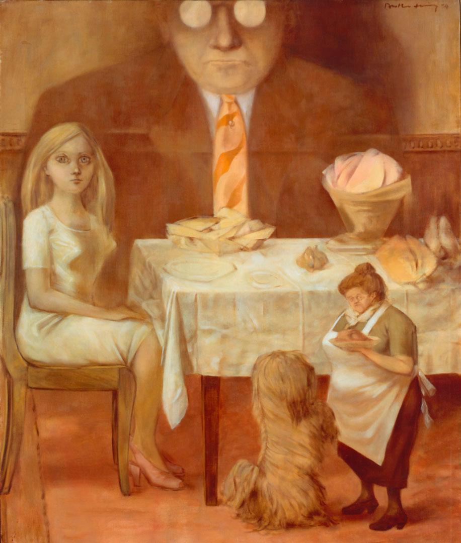 Portrait de Famille - Retrato de Familia - Cuadro Surrealista pintado por Dorothea Tanning en 1953 - Óleo sobre Lienzo 71 x 76 cm