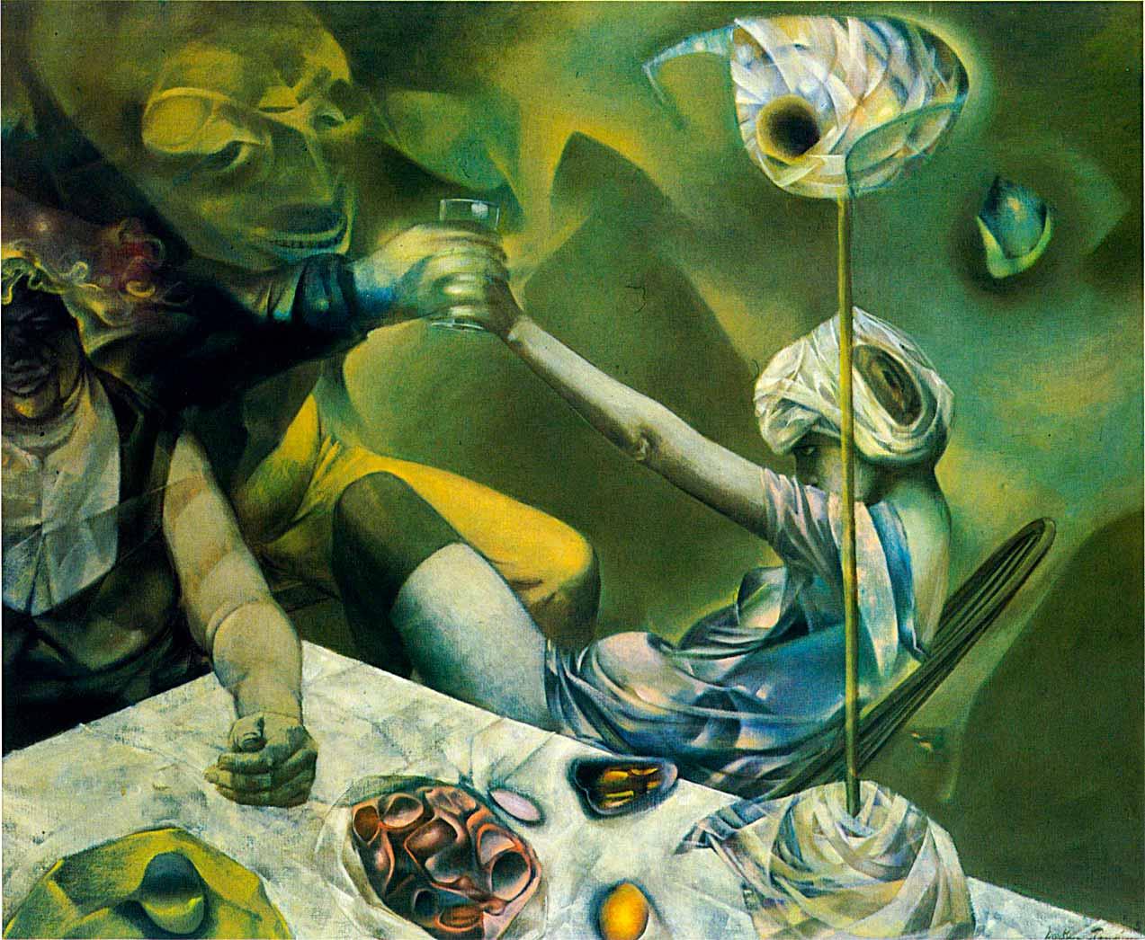 The Philosophers - Los filósofos - Cuadro Surrealista pintado por Dorothea Tanning en 1952 - Óleo sobre Lienzo 74 x 90 cm