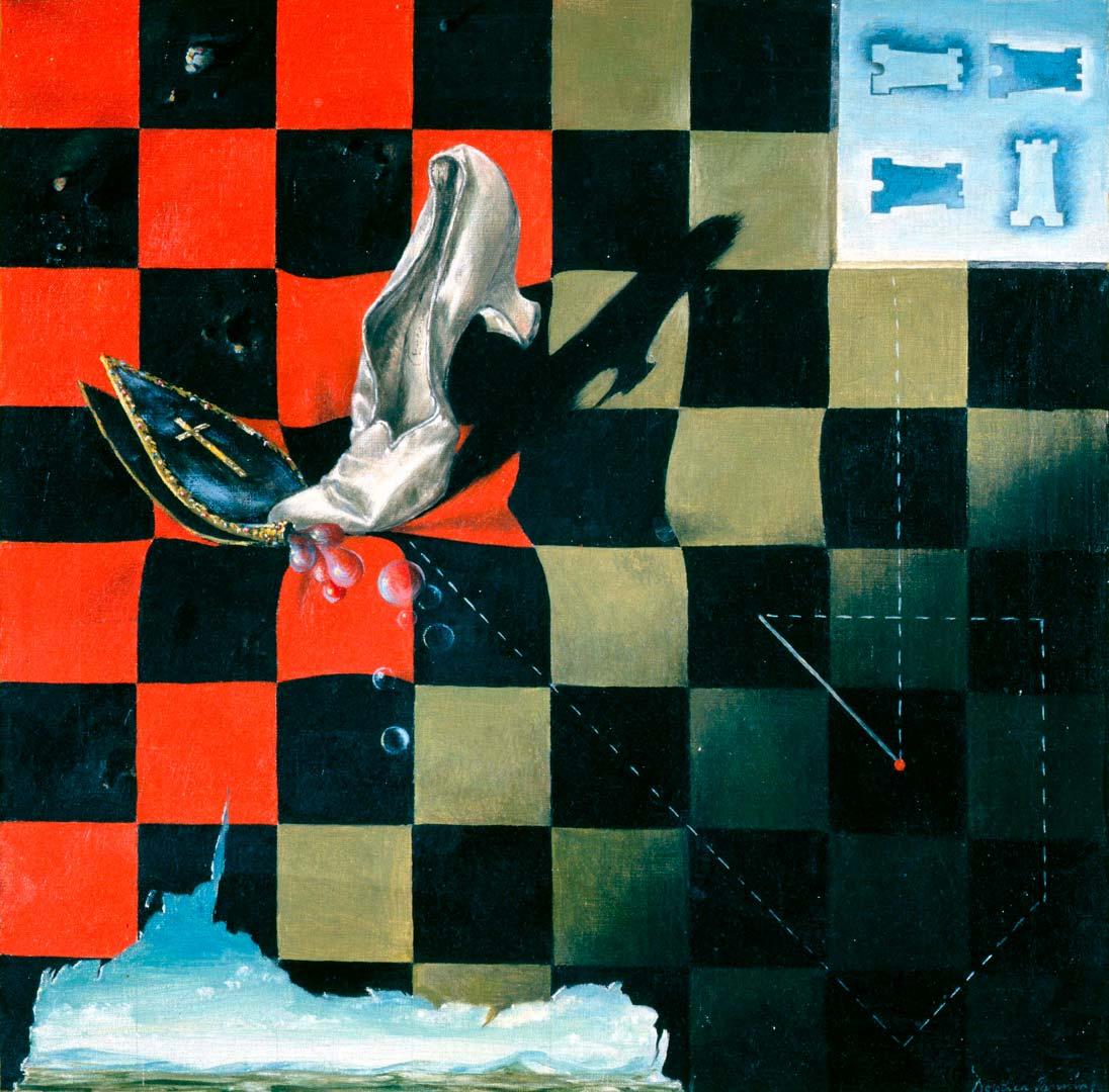 Endgame - Fin del juego - Cuadro Surrealista pintado por Dorothea Tanning en 1944 - Óleo sobre Lienzo 43 x 43 cm