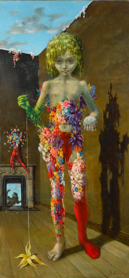 The Magic Flower Game - El Juego de la Flor Mágica - Cuadro Surrealista pintado por Dorothea Tanning en 1941 - Óleo sobre Lienzo 89 x 43 cm