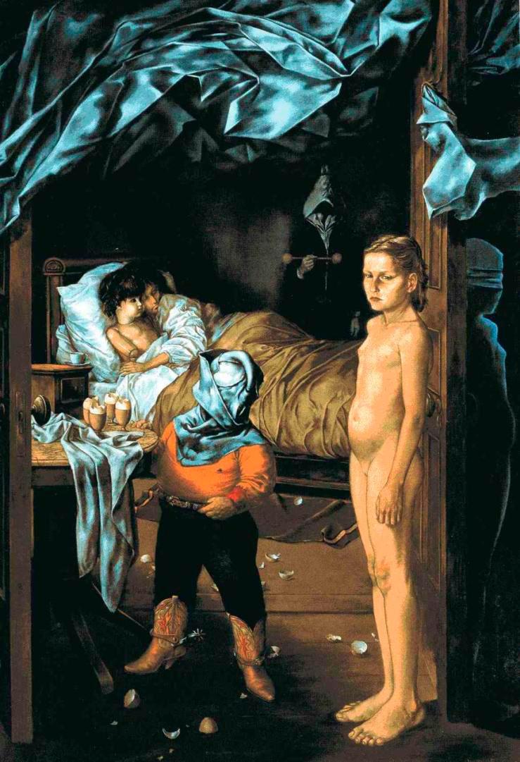 The Guest Room - La Habitación del Huesped - Cuadro Surrealista pintado por Dorothea Tanning en 1951 - Óleo sobre Lienzo 152 x 106 cm