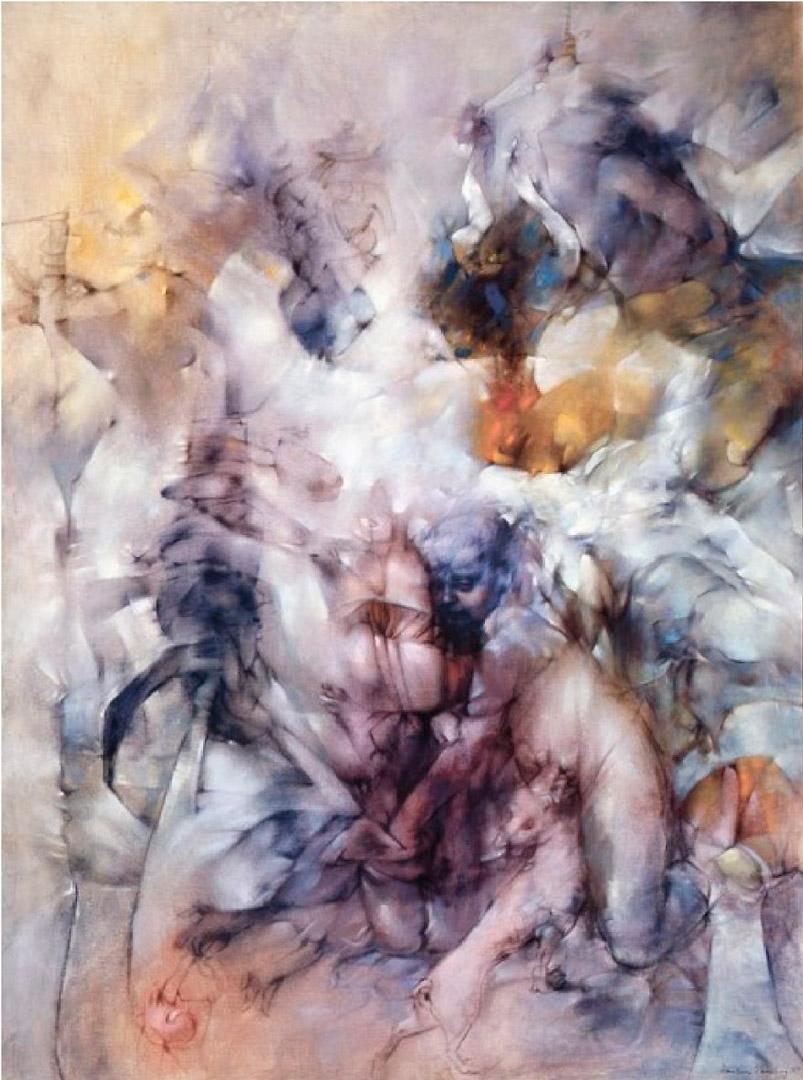 Insomnies - Insomnias - Cuadro Surrealista pintado por Dorothea Tanning en 1957 - Óleo sobre Lienzo 205 x 144 cm