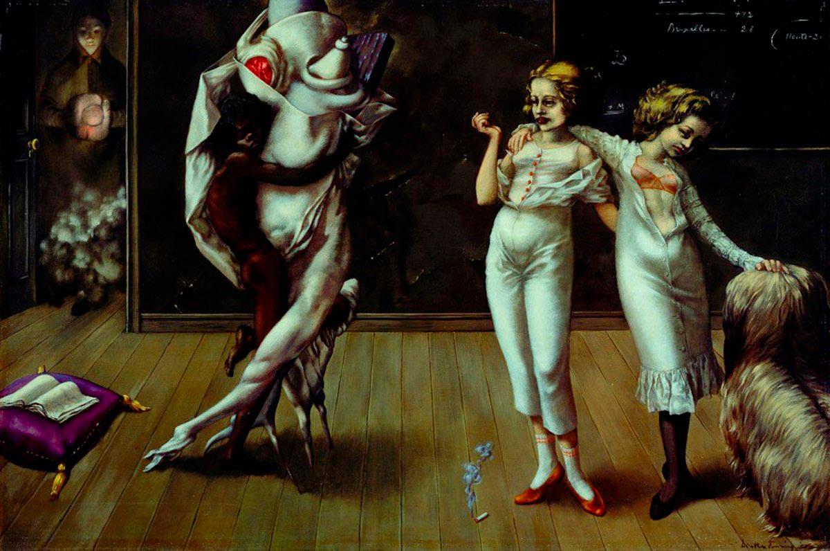 Interior with sudden Joy - Interior con Alegría Repentina - Cuadro Surrealista pintado por Dorothea Tanning en 1951 - Óleo sobre Lienzo 61 x 90 cm