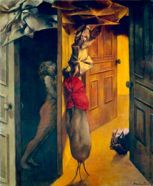 Intérieur - Interior - Cuadro Surrealista pintado por Dorothea Tanning en 1953 - Óleo sobre Lienzo 46 x 25 cm