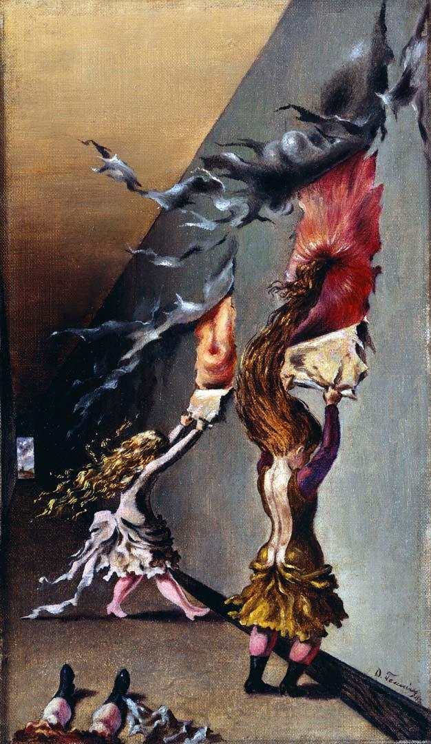 Children'ws Games - Juego de Niñas - Cuadro Surrealista pintado por Dorothea Tanning en 1942 - Óleo sobre Lienzo 27 x 41 cm