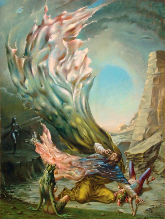 The Temptation of Saint Anthony - La Tentación de San Antonio - Cuadro Surrealista pintado por Dorothea Tanning en 1945 - Óleo sobre Lienzo 119 x 89 cm