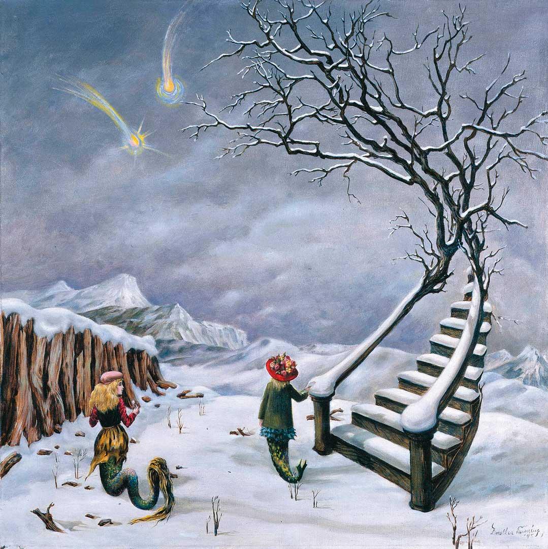 EThe truth about coments - La verdad sobre los cometas - Cuadro Surrealista pintado por Dorothea Tanning en 1944 - Óleo sobre Lienzo 61 x 61 cm