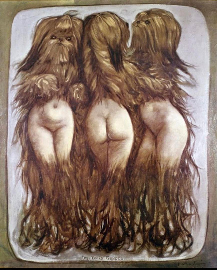 Les trois garces - las tres putas - Cuadro Surrealista pintado por Dorothea Tanning en 1953 - Óleo sobre Lienzo 64 x 51 cm