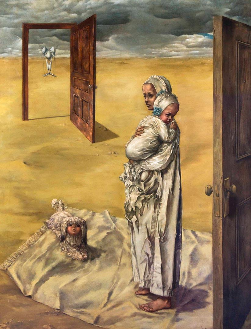 Maternity - Maternidad - Cuadro Surrealista pintado por Dorothea Tanning en 1946/47 - Óleo sobre Lienzo 142 x 122 cm
