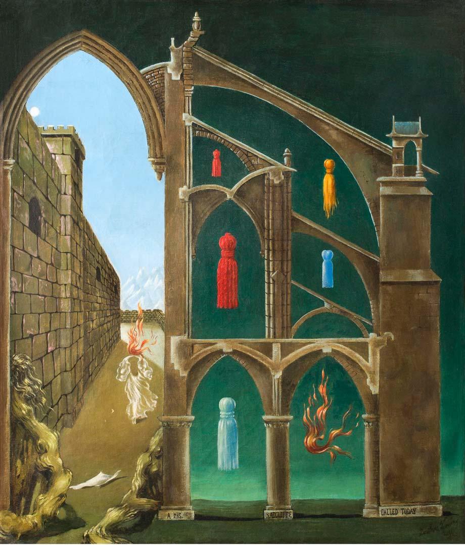 A Mrs Radcliffe Called Today - Mrs Radcliffe LLamó hoy - Cuadro Surrealista pintado por Dorothea Tanning en 1944 - Óleo sobre Lienzo 46 x 38 cm