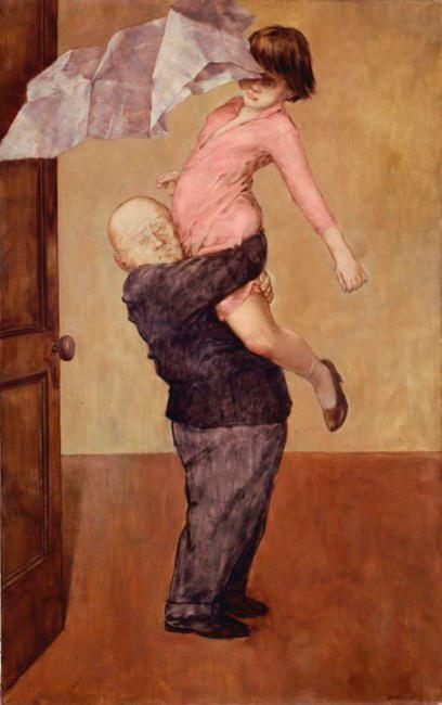 Death and the Maiden - La muerte y la doncella - Cuadro Surrealista pintado por Dorothea Tanning en 1953 - Óleo sobre Lienzo 130 x 79 cm