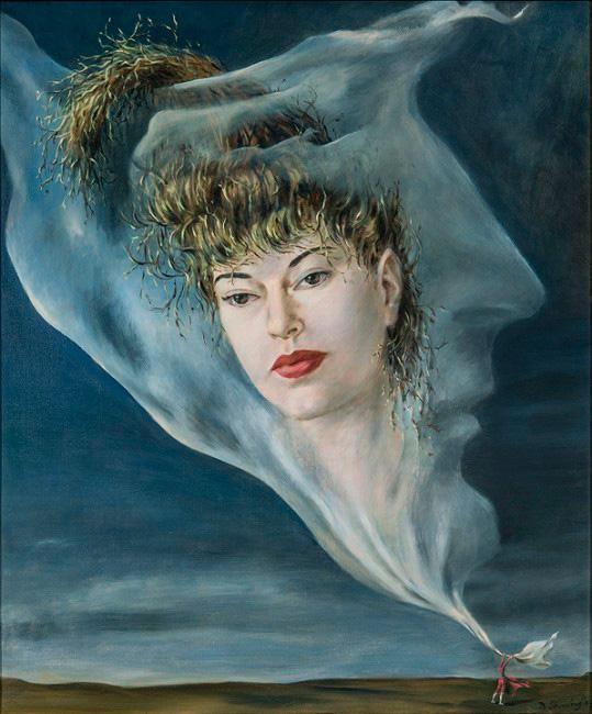 Retrato de Muriel Levy - Cuadro Surrealista pintado por Dorothea Tanning en 1943 - Óleo sobre Lienzo 61 x 50 cm