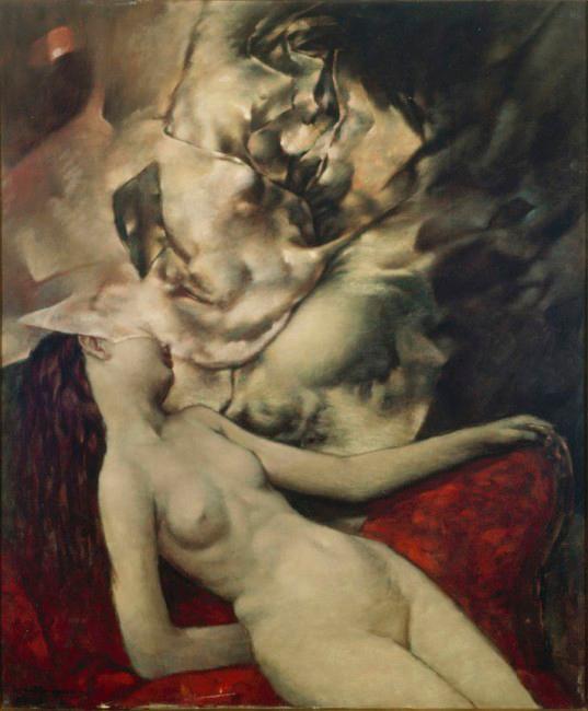 Nue endormie - Durmiente Desnuda - Cuadro Surrealista pintado por Dorothea Tanning en 1954 - Óleo sobre Lienzo 61 x 48 cm