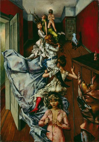 Palaestra - Lucha - Cuadro Surrealista pintado por Dorothea Tanning en 1948 - Óleo sobre Lienzo 61 x 43 cm