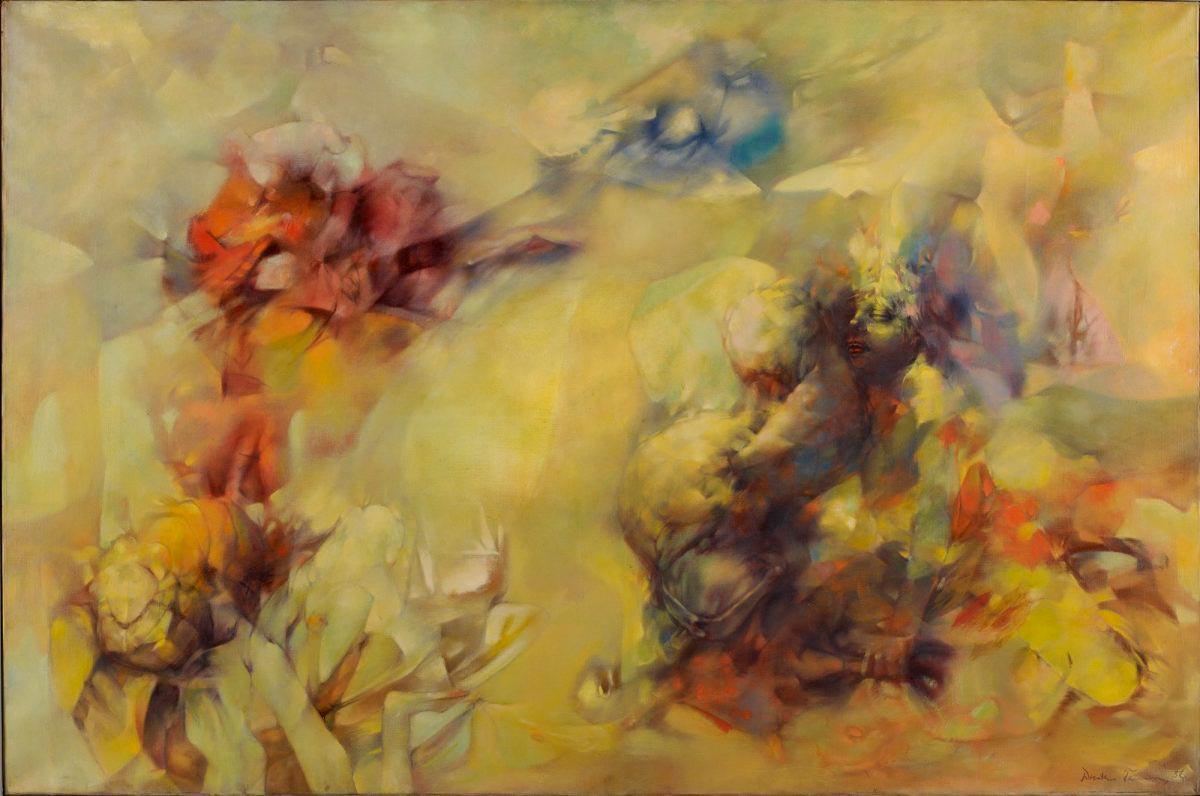 Tempête en jaune - Tempestad en Amarillo - Cuadro Surrealista pintado por Dorothea Tanning en 1956 - Óleo sobre Lienzo 97 x 145 cm