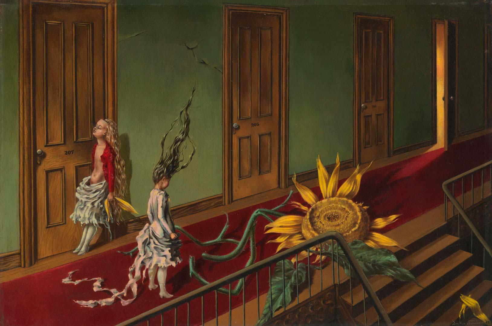 Eine Kleine Nachtmusik - Un poco de música Nocturna - Cuadro Surrealista pintado por Dorothea Tanning en 1943 - Óleo sobre Lienzo 41 x 61 cm
