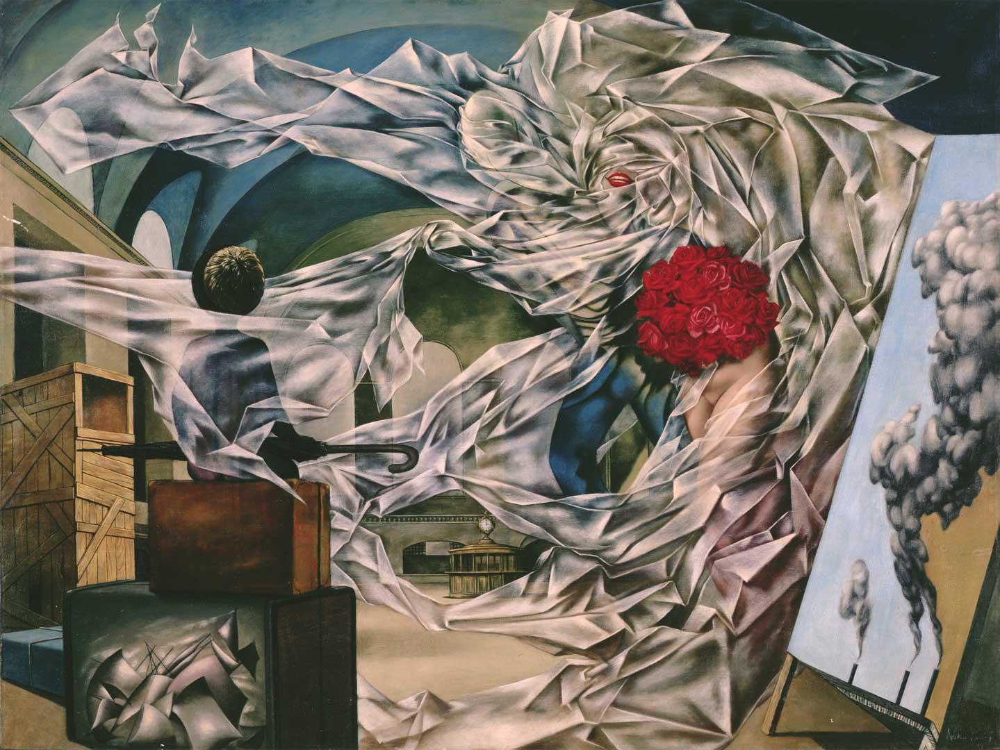 A very Happy Picture - Una Imagen muy Feliz - Cuadro Surrealista pintado por Dorothea Tanning en 1947 - Óleo sobre Lienzo 91 x 122 cm