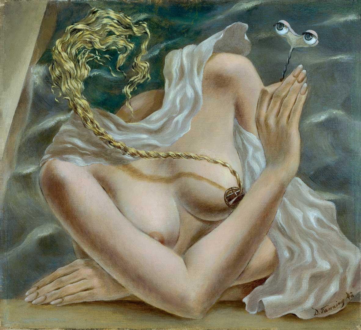 Voltage - Cuadro Surrealista pintado por Dorothea Tanning en 1942 - Óleo sobre Lienzo 28 x 30 cm