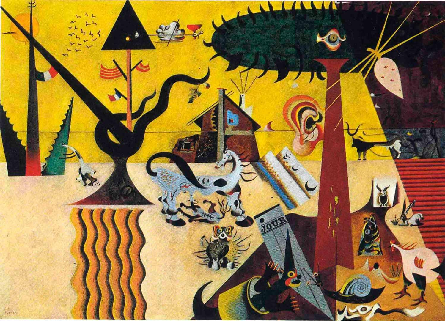El Campo Labrado o la Tierra Labrada - Cuadro Cubista pintado por Joan Miró en 1923 - Óleo sobre Lienzo 66 x 93 cm