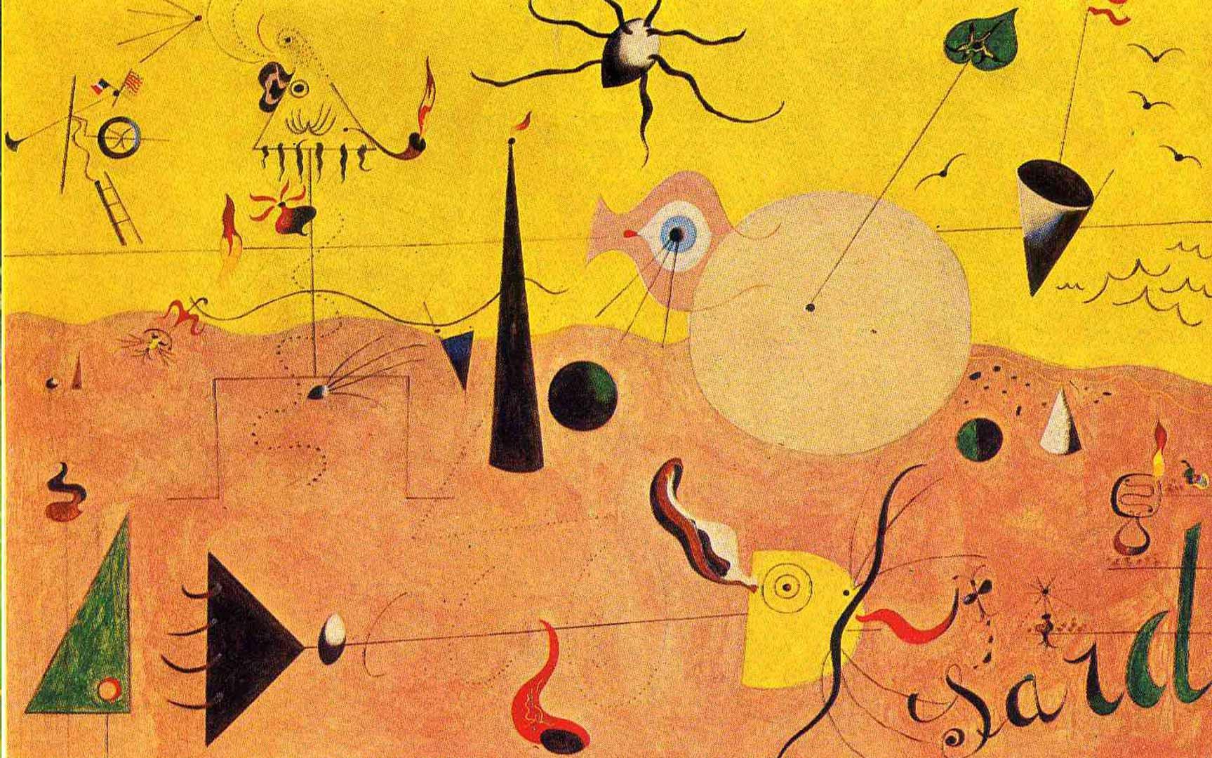 Paisaje Catalán o El cazador - Cuadro Surrealista pintado por Joan Miró en 1923 - Óleo sobre Lienzo 65 x 100 cm