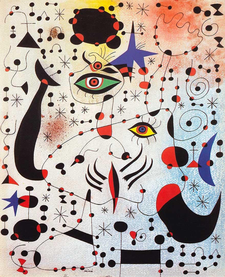 Constelaciones En el Amor de una Mujer - Cuadro Surrealista pintado por Joan Miró en 1941 - Óleo sobre Lienzo 46 x 38 cm