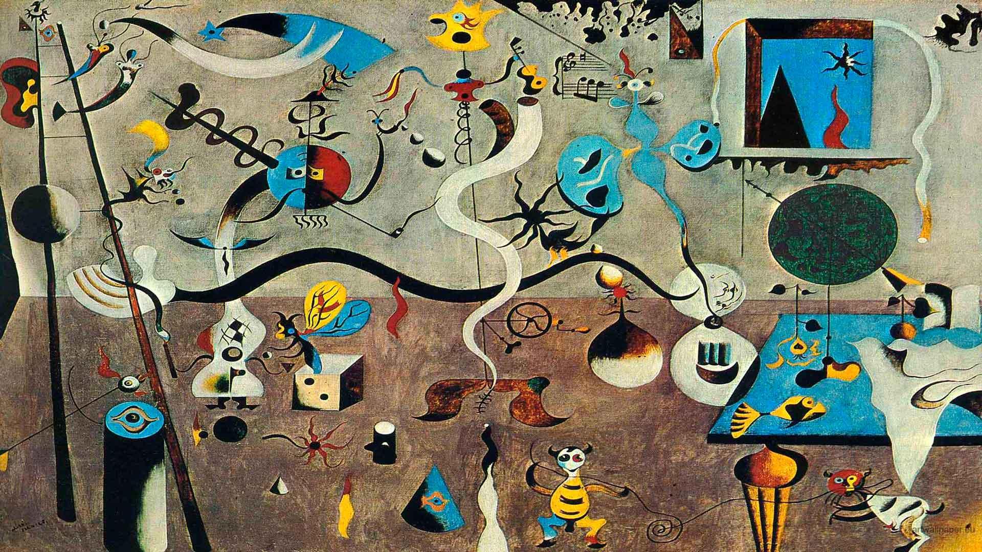El Carnaval del Arlequín - Cuadro Surrealista pintado por Joan Miró en 1924 - Óleo sobre Lienzo 66 x 93 cm