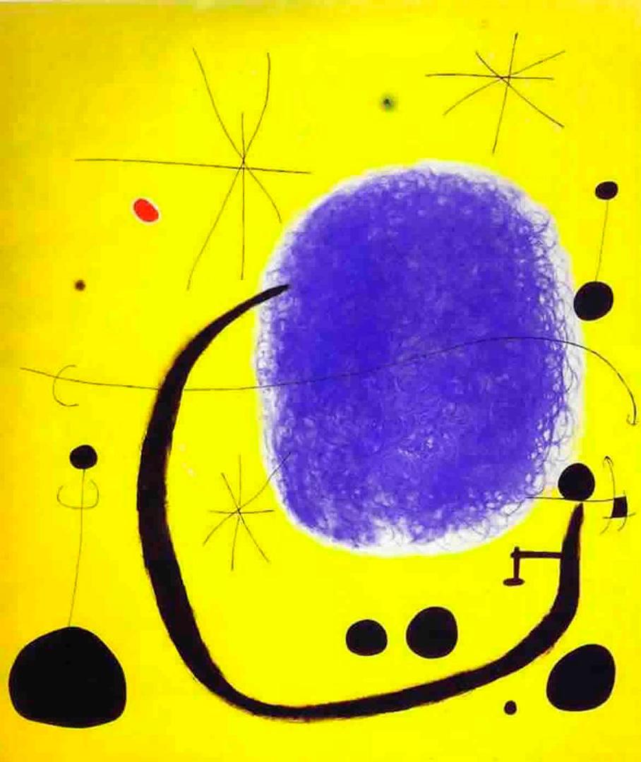 El Oro del Azur - Cuadro Abstracto pintado por Joan Miró en 1967 - Óleo sobre Lienzo 205 x 173 cm