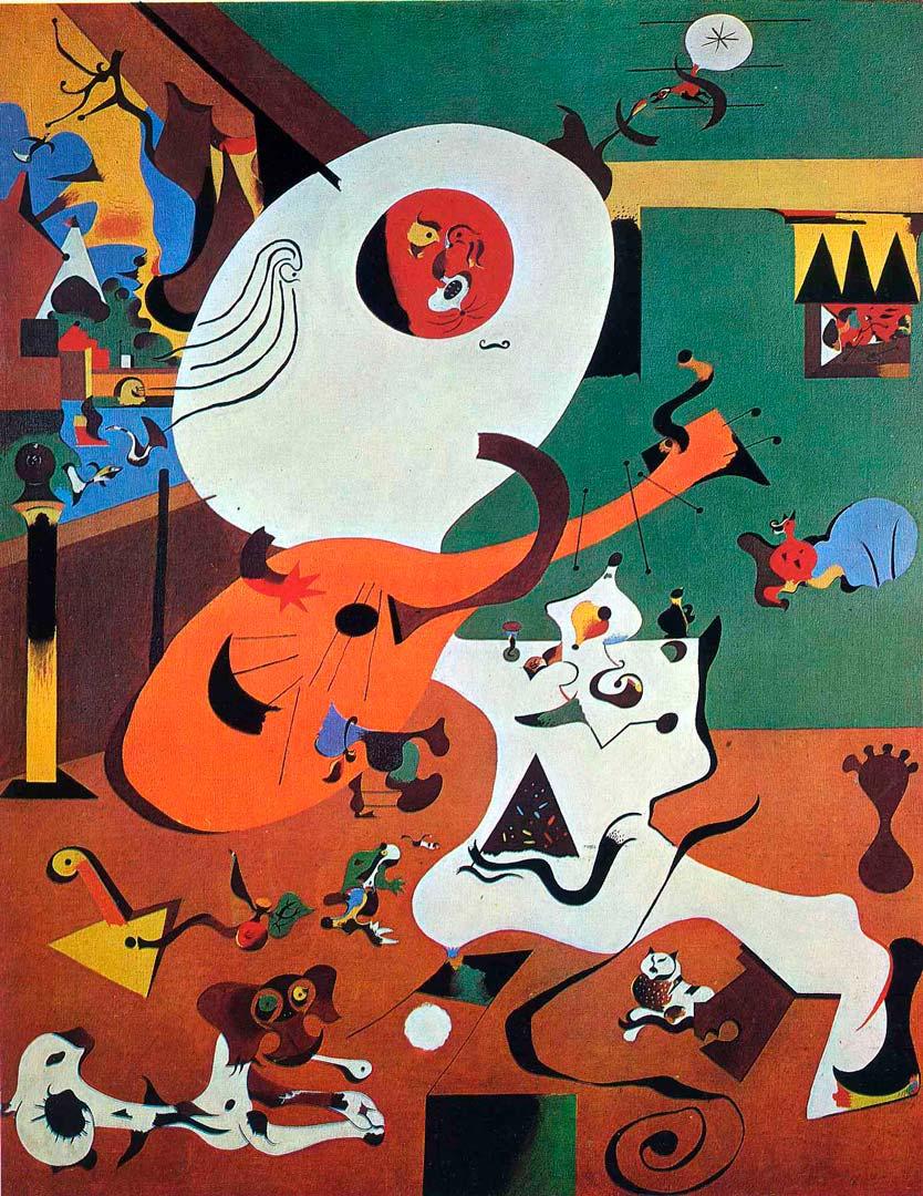 Interiores Holandeses I - Cuadro Surrealista pintado por Joan Miró en 1984 - Óleo sobre Lienzo 91 x 73 cm