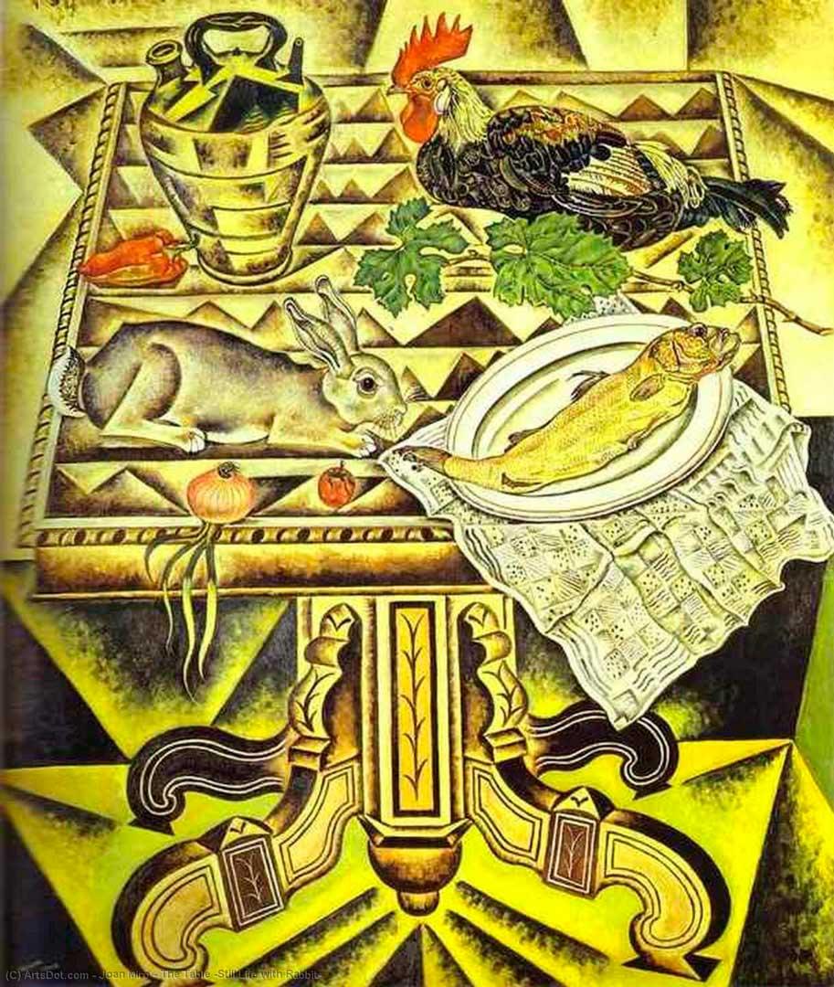 La Mesa o Naturaleza Muerta con Conejo - Cuadro Cubista pintado por Joan Miró en 1920 - Óleo sobre Lienzo 130 x 110 cm
