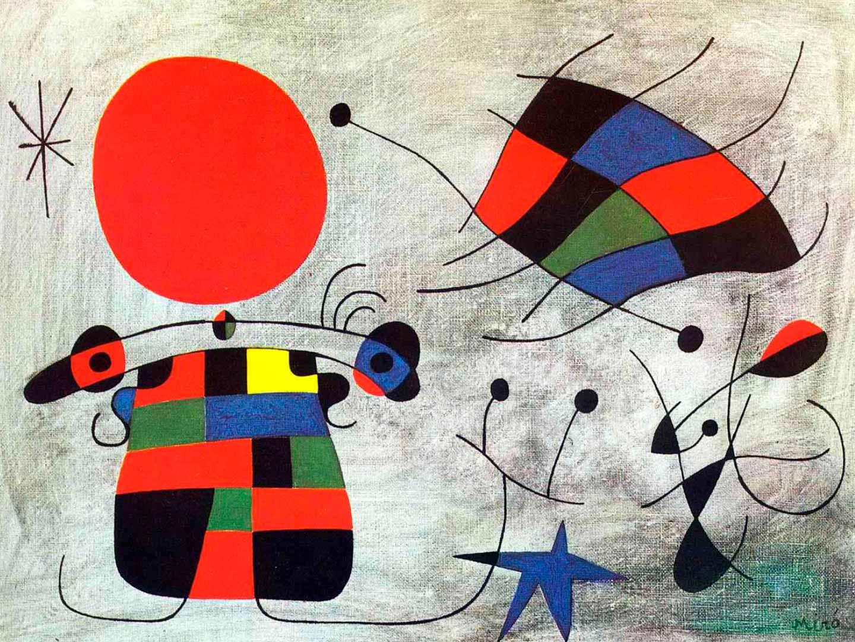 La Sonrisa de Alas Flamantes - Cuadro Surrealista pintado por Joan Miró en 1953 - Óleo sobre Lienzo 46 x 35 cm