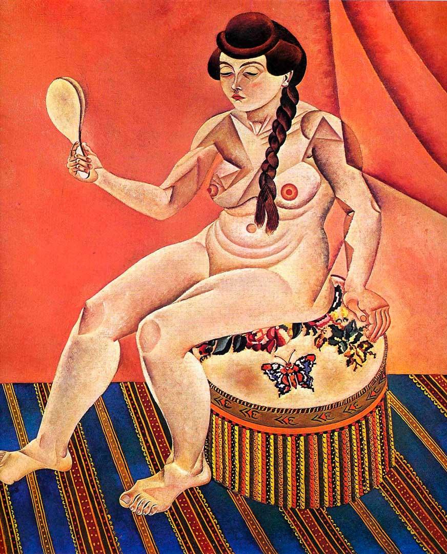 Mujer Desnuda con espejo - Cuadro Cubista pintado por Joan Miró en 1919 - Óleo sobre Lienzo 122 x 102 cm