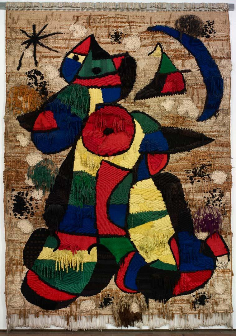 Tapiz de la fundación - Cuadro Abstracto pintado por Joan Miró en 1967 - Textil 750 x 500 cm