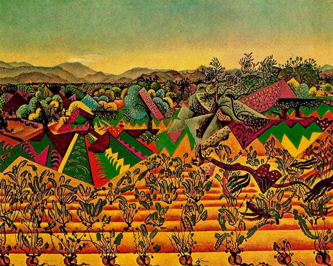 Viñedos y Olivos de Mont-Roig - Cuadro paisajístico emocional pintado por Joan Miró en 1919 - Óleo sobre Lienzo 72 x 90 cm